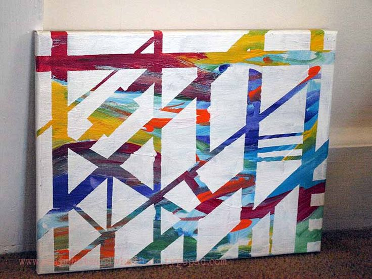 Best 1000 diy wall art images on pinterest home ideas for Tape painting on canvas
