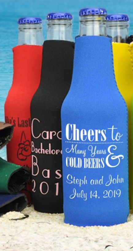 Keep everyone's bottled beverages ice cold at your summer engagement party, bachelorette party, rehearsal dinner and wedding reception this summer with neoprene zip-up bottle koozies personalized with a fun design and message to commemorate your special occasion or day. Everyone will love taking these fun wedding favors home as souvenirs to use every day this summer. These bottle koozies can be ordered at http://myweddingreceptionideas.com/personalized_bottle_koozies.asp