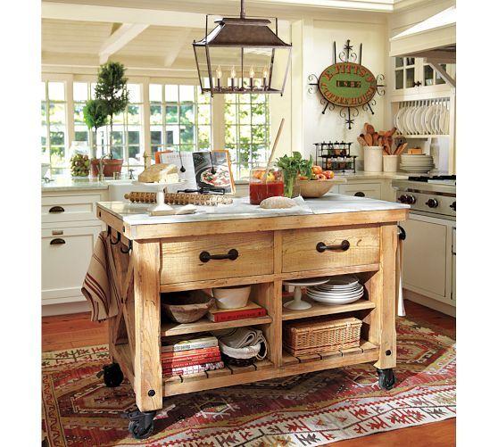 Hamilton Reclaimed Wood Marble Top Kitchen Island Large Pottery Barn Kid S Room