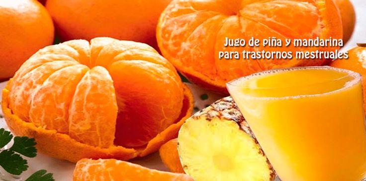 Jugo de piña y mandarina  para trastornos mestruales