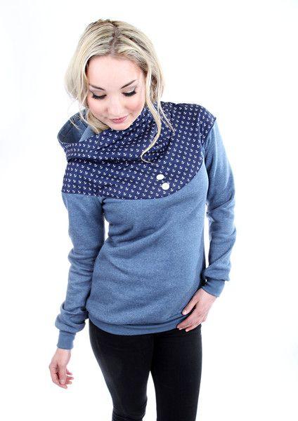 "Hoodies - MEKO ""Flora"" Hoodie Damen Anker Blau maritim - ein Designerstück von meko bei DaWanda"