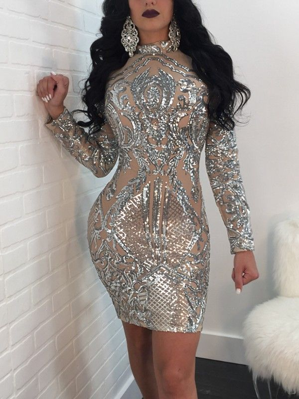 Sequins Long Sleeve Slinky Bodycon Dress