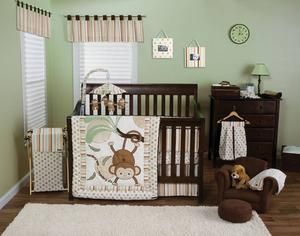 Brown & green monkey nursery theme - I love this bedding!