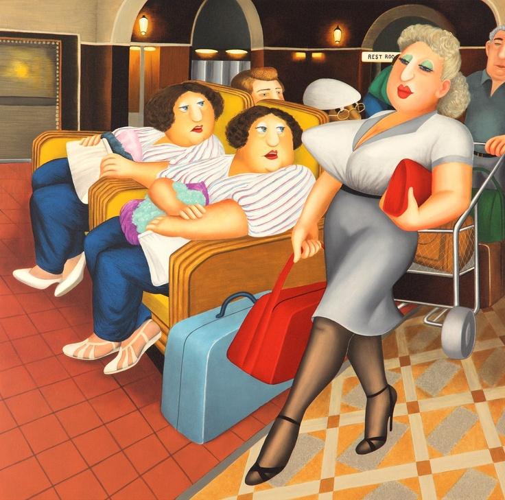 Twins Silkscreen Print by Beryl Cook