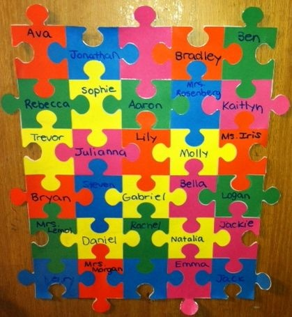 "Classroom door. Shows how all the kids in the class ""Fit together"". Cute idea for a teacher"