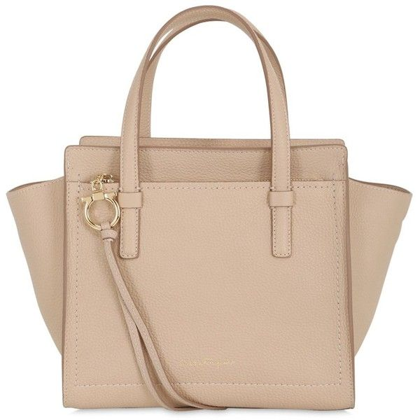 Salvatore Ferragamo Women Small Amy Grained Leather Tote Bag ($1,095) ❤ liked on Polyvore featuring bags, handbags, tote bags, nude, tote bag purse, beige handbags, salvatore ferragamo tote, nude purses and tote purse