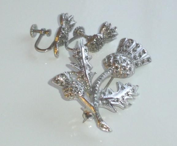 Vintage Marcasite Thistle Brooch and Earrings