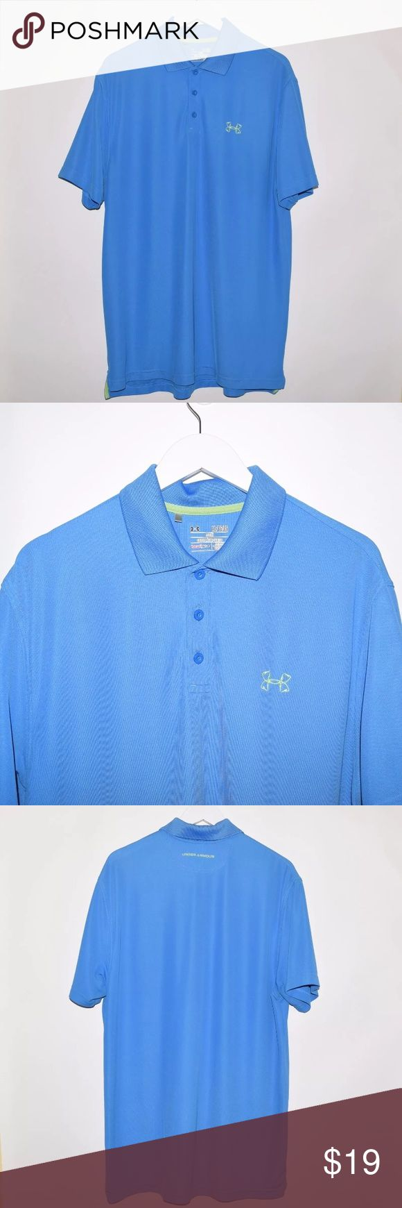 Under Armour Heat Gear Loose SS Golf Polo Shirt Brand: Under Armour Item name: Men's Heat Gear Loose GolfPolo Shirt   Color: Blue / Green Condition: This is a pre-owned item. This item is in excellent used condition with no stains, rips, holes, etc. Comes from a smoke free home. Size: XL Measurements: Pit to Pit - 24 inches Shoulder to base - Front: 31 inches Back: 32 inches Under Armour Shirts Polos