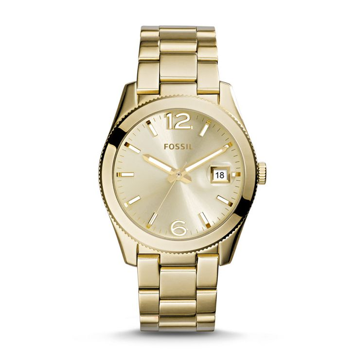 Fossil Perfect Boyfriend Three-Hand Date Stainless Steel Watch – Gold-Tone