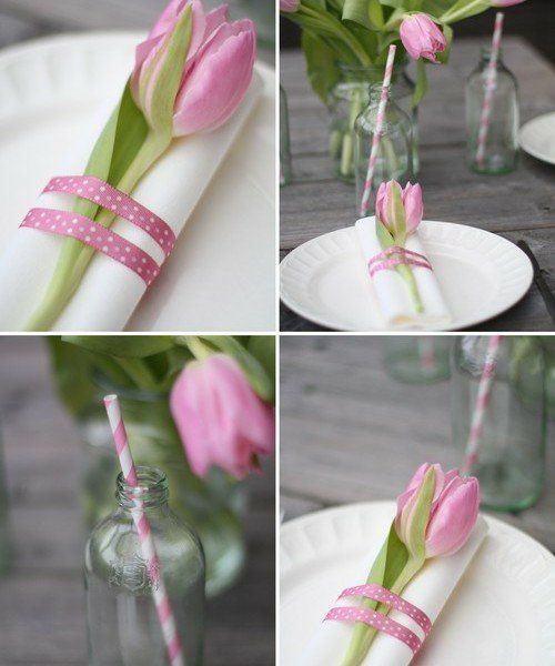 rosa tulpe glas osterdeko tischdeko frühling