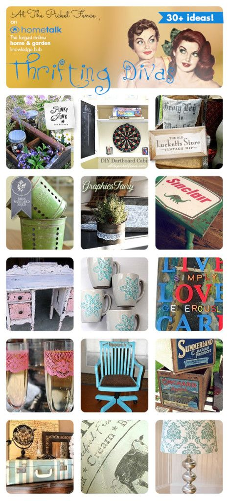 Round up of 30 fabulous projects from thift store finds curated by atthepicketfence.com