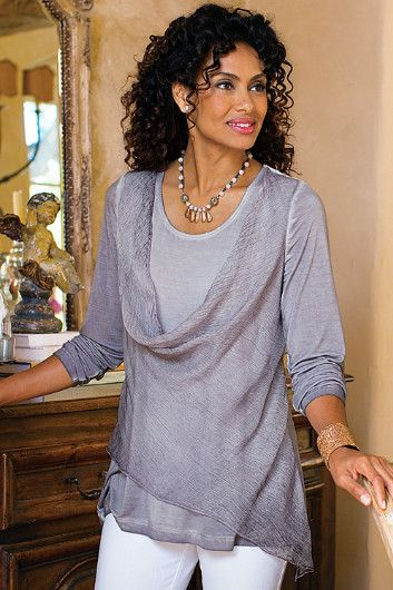 Silk Angelique Top - Textural contrasts are fabulously on #trend, as in this lusciously #soft, uniquely dyed jersey #knit top | Soft Surroundings