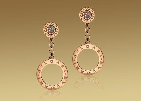 BVLGARI BVLGARI earrings in 18kt pink gold with pavé diamonds.