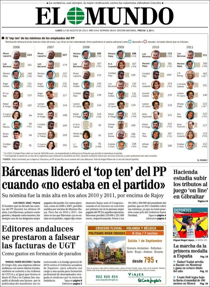 Los Titulares y Portadas de Noticias Destacadas Españolas del 12 de Agosto de 2013 del Diario El Mundo ¿Que le pareció esta Portada de este Diario Español?