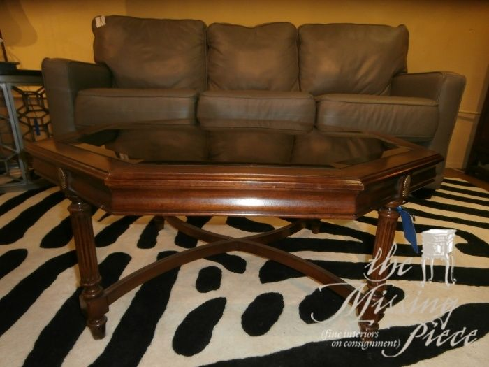 Vintage, octagonal coffee table with caned top. A touch of the past. Measures 36 x 16. Arrived: Wednesday October 26th, 2016