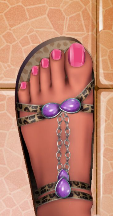 """This is a picture showing a female with a pink pedicure, wearing purple and animal print sandals. This style was created using """"Pedicure Foot Nail Art Salon"""" mobile app"""