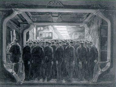 Metropolis 1927 - Film Archive - Erich Kettelhut Drawings 1925-6. In the Elevator, oil and gouache on cardboard, 31 x 41 cm. (c) Filmmuseum Berlin - Deutsche Kinemathek.