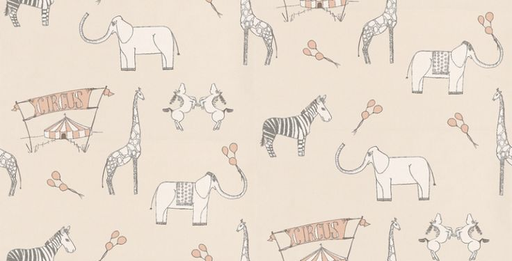 Merry Go Circus (2I Merry) - Katie Bourne Interiors Wallpapers - A beautiful  nursery cartoon circus themed paper with zebras, giraffes and elephants.  Available in four colours – shown in white with pale rose pink highlights on a cream base.  Please request a sample for true colour match.