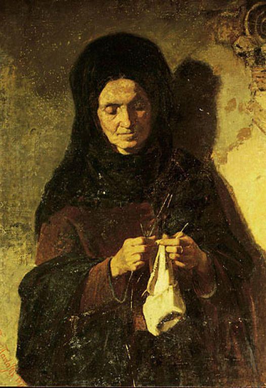 Πανταζής Περικλής-Γυναίκα που πλέκει.  Pantazis Periklis