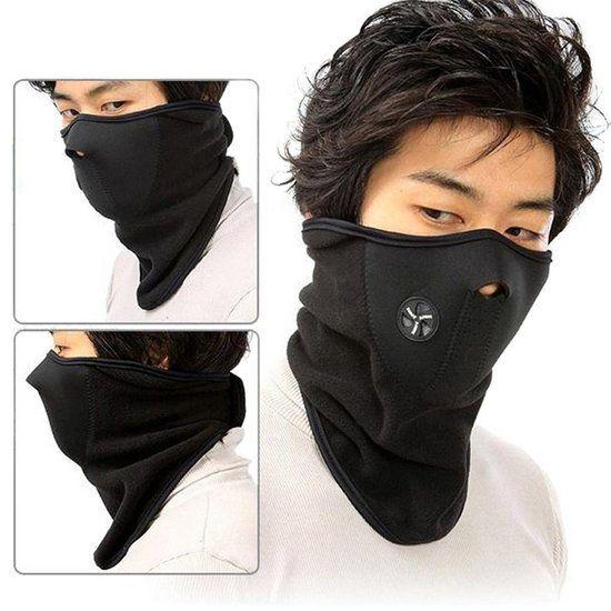 Fleece Bandana Nekwarmer Sjaal - Voor Een Warme Nek - Heren / Dames - Unisex zwart