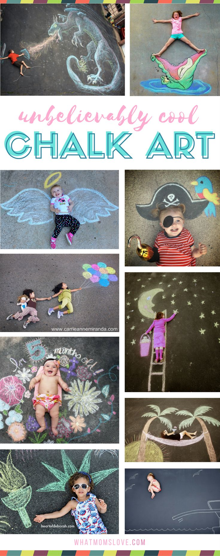 Sidewalk Chalk Art Ideas for Kids   These creative driveway illusions are totally awesome! Easy drawings to incorporate your baby, child or teen. Plus tons of other sidewalk chalk games and activities for outdoor summer fun.