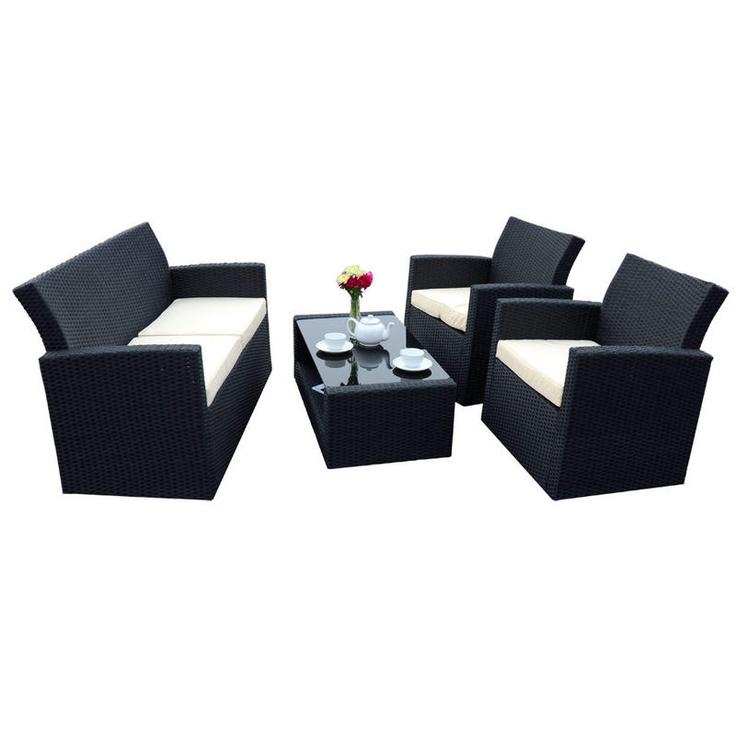 4 Piece Tuscany, black poly-rattan sofa set. With 2 armchairs, sofa and glass top coffee table.