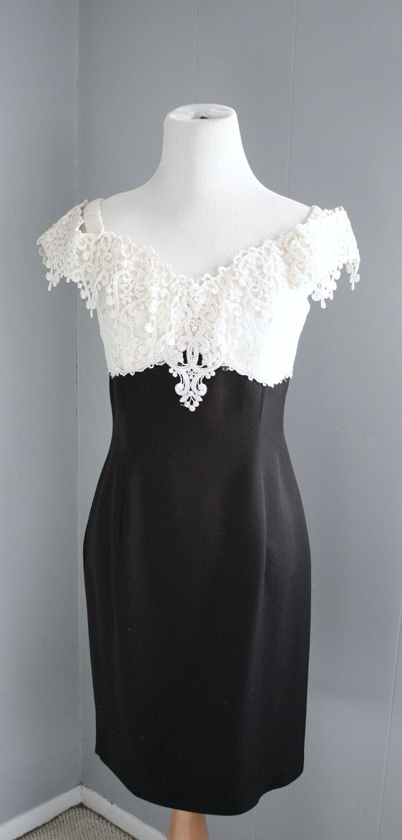Vintage 60s dress black and white w pearl and lace on etsy 537 78 kr