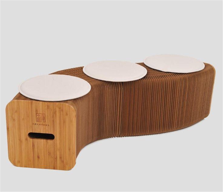 Kreativ Akkordeon Typ Klapphocker Stretched Kraft Papier Hocker Wohnzimmer Couchtisch Niedrige Falten Casual Bench