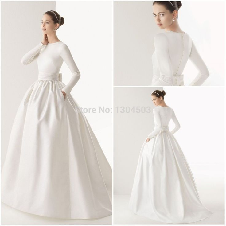 2015 Boat Neck Muslim wedding dress long sleeve Sash Bow Pockets White Satin Vintage Ball Gown vestido de noiva