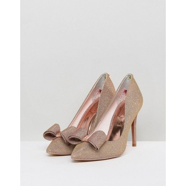 Ted Baker Azeline Rose Gold Sparkling Heeled Court Shoes ($155) ❤ liked on Polyvore featuring shoes, pumps, glitter pumps, high heeled footwear, embellished heel pumps, glitter shoes and slip-on shoes