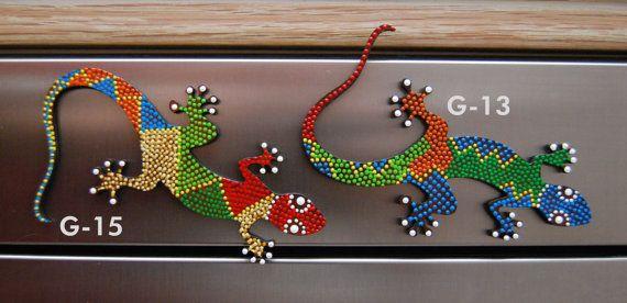 Tribal Magnetic gecko (lizard) – dot art – handpainted - Gift ideas – Kitchen accessory – memo holder -