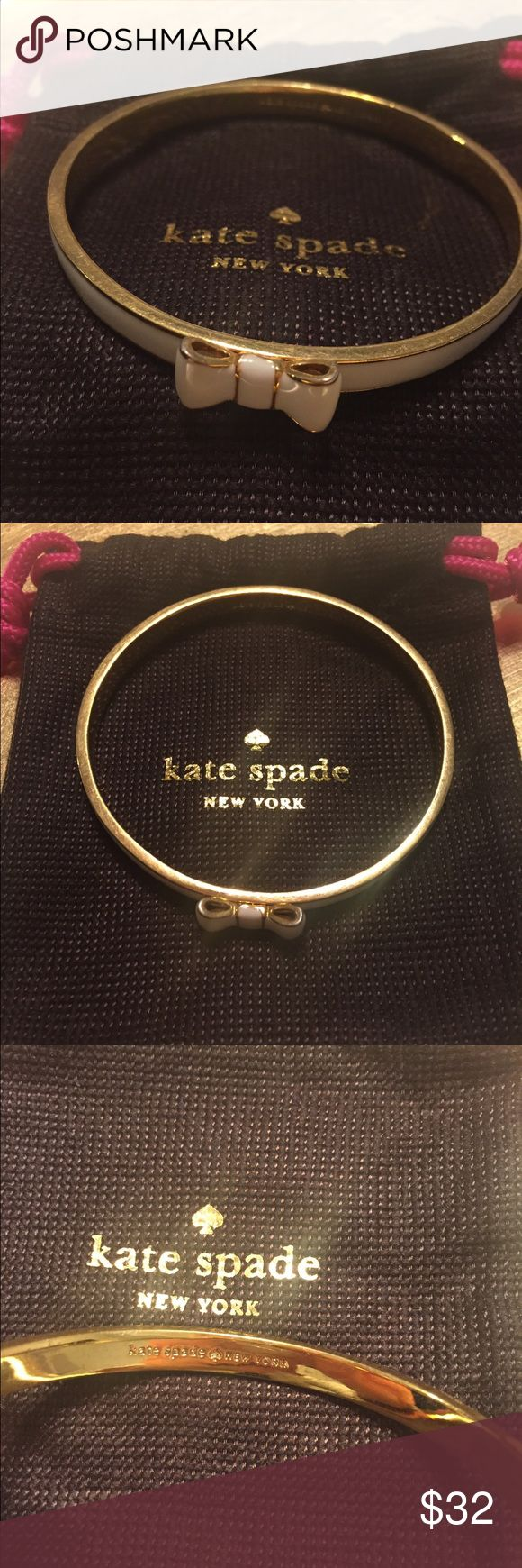 Kate Spade cream bow bangle Like new Kate Spade cream and gold bow bangle. In excellent condition. kate spade Jewelry Bracelets