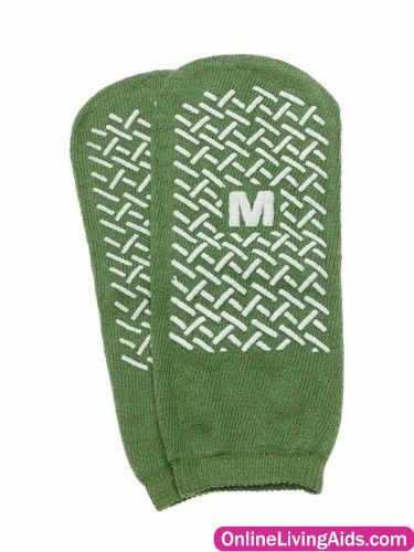 Medline - MDT211218MI - Single-Tread Slippers, Medium, Green