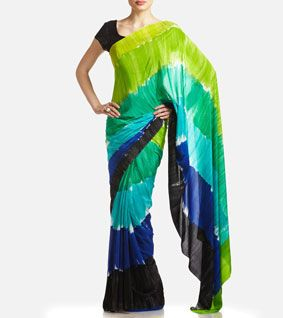 Blue & Green Georgette Printed Saree