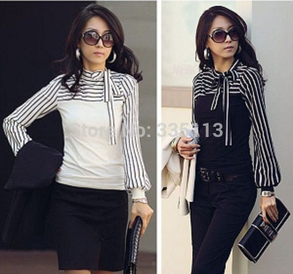 Cheap t shirt, Buy Quality blouse top directly from China free t shirt logos Suppliers: Sizes S-4XL 2014 Hot Sale Zanzea Fashion OL Women Ladies Stripe Lantern Long Sleeve Turtleneck Shirts Blouses Black/Whit