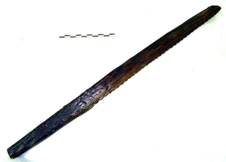 """Ten długi, drewniany przedmiot najprawdopodobniej służył do """"czesania"""". Wskazuje na to jego ząbkowana krawędź. W XI-XII wieku, takim oto właśnie 40-centymetrowym grzebieniem wyczesywano… łodygi lnu lub konopi celem oddzielenia włókien, z których potem wito przędzę do wyrobu nici czy sznurów."""