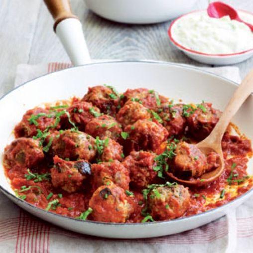 Eggplant chicken meatballs with tzatziki