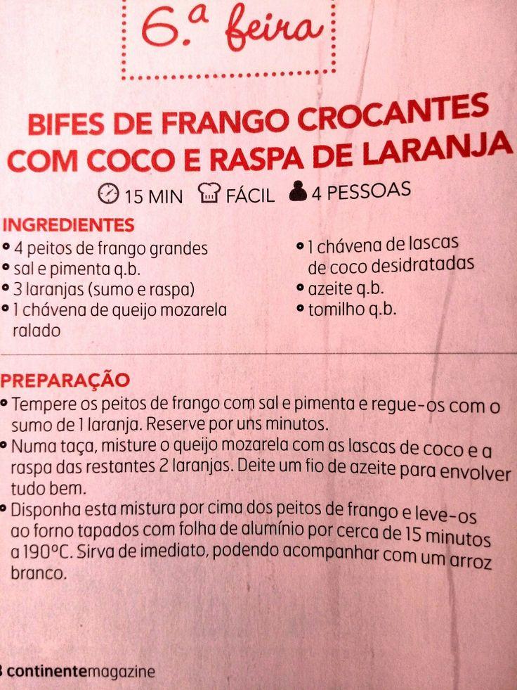 Bifes de frango crocante com coco e raspas de laranja