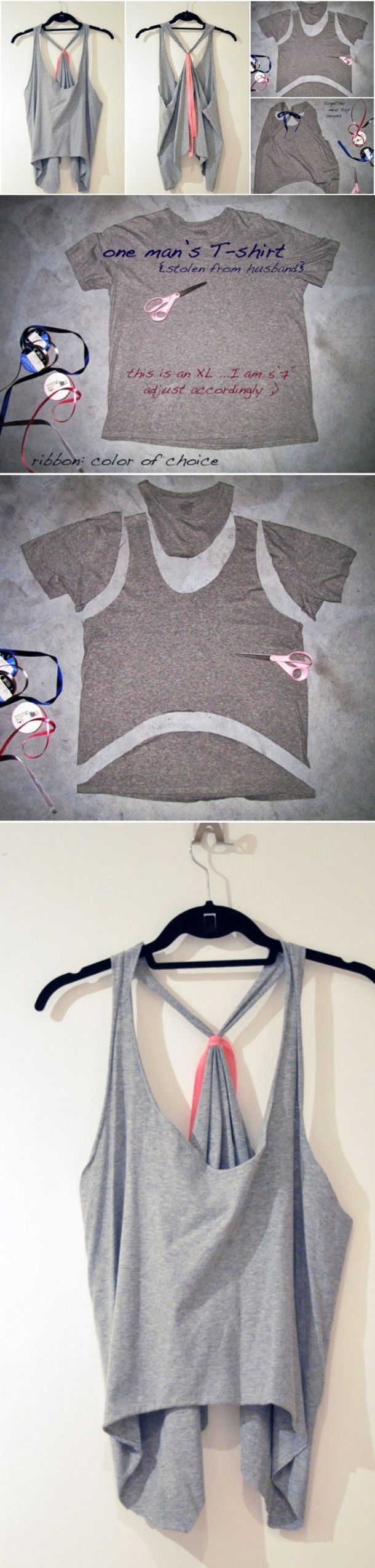Here is a quick and easy craft perfect for teens and adults.  Take an old T shirt and easily turn it into a tee.  Check out this simple image tutorial.