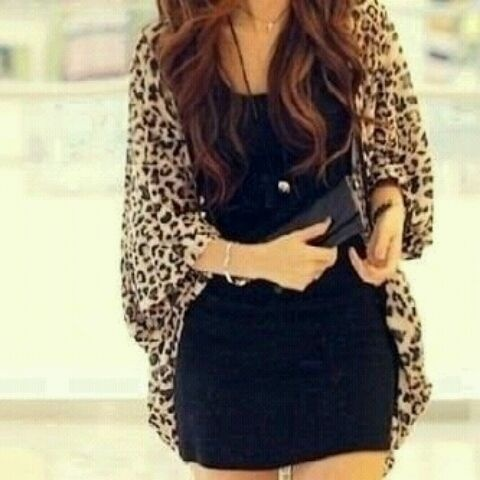 Black dress with leopard cardigan: Cheetahs, Outfits, Dreams Closet, Leopards Cardigans, Jackets, Animal Prints, Leopards Prints, Little Black Dresses, Cardigans Sweaters