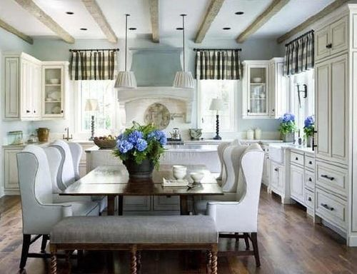 nice: Dining Rooms, Dreams Kitchens, Dreams Houses, Kitchens Bench, Wings Chairs, Dining Chairs, Kitchens Tables, Wingback Chairs, White Kitchens