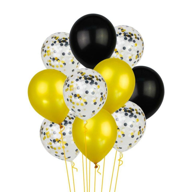 BLACK GOLD BALLOONS Black and Silver Balloons Bouquet, Black Gold Confetti Balloons, Balloons, Father's Day Balloons