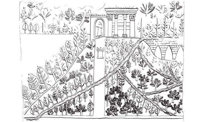 """Zahrada lásky """"Zahrada lásky"""", kolem roku 640 př. n. l., reliéf, alabastr, výška 230 cm, Aššurbanipalův palác, Ninive, Irák, uloženo: British Museum, Londýn, Anglie. Starověké zahrady bývaly místem lásky. Jejich zobrazení ve výtvarném umění však existuje nemnoho; jeden ze vzácných obrazů se dochoval na reliéfu z Aššurbanipalova královského paláce. Stromy a keře zavlažovala voda z akvaduktu (vpravo nahoře). Chrám nahoře byl tedy obklopen rajskou zahradou."""