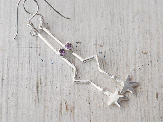Star Earrings Long Drop Silver Star and Amethyst by SunSanJewelry