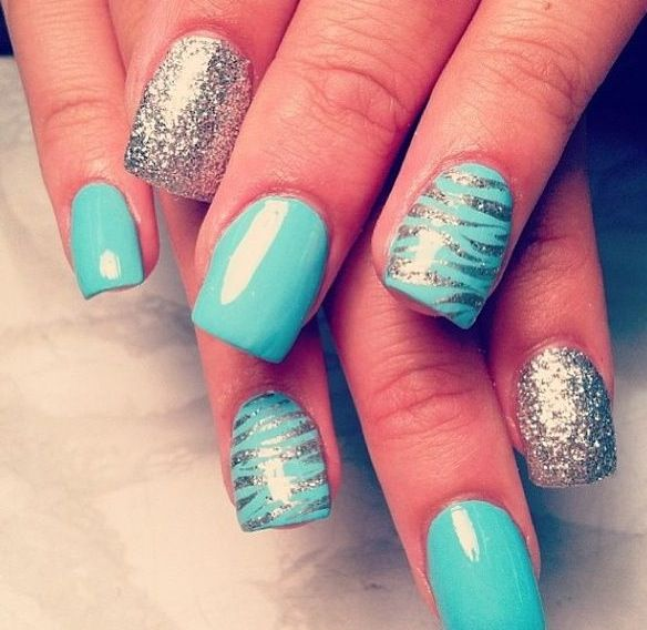 Cute Nails!!!   My style!! Blue and gray AND sparkles, all in one AWESOME!