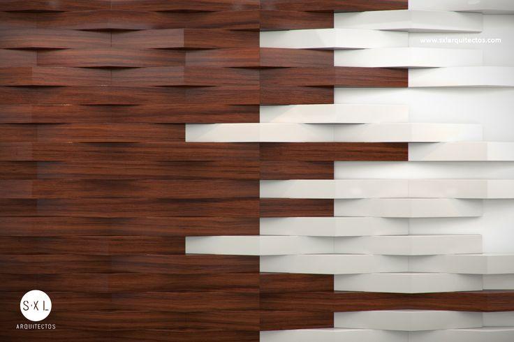 Detalle en muro con paneles de madera recepci n oficinas for Madera en paredes interiores