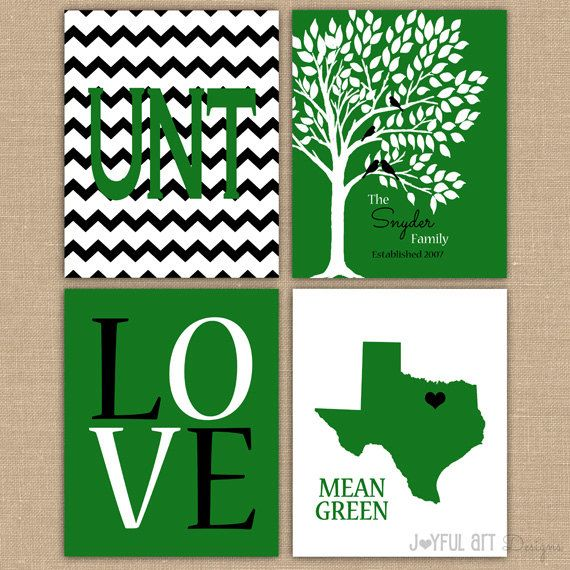 UNT Custom Family PRINTABLE Family Love Bird Tree Wall Art Entry Way Decor Mean Green Eagles Wedding Gift Set of 4 DIGITAL files 8x10 size. North Texas. $16.00