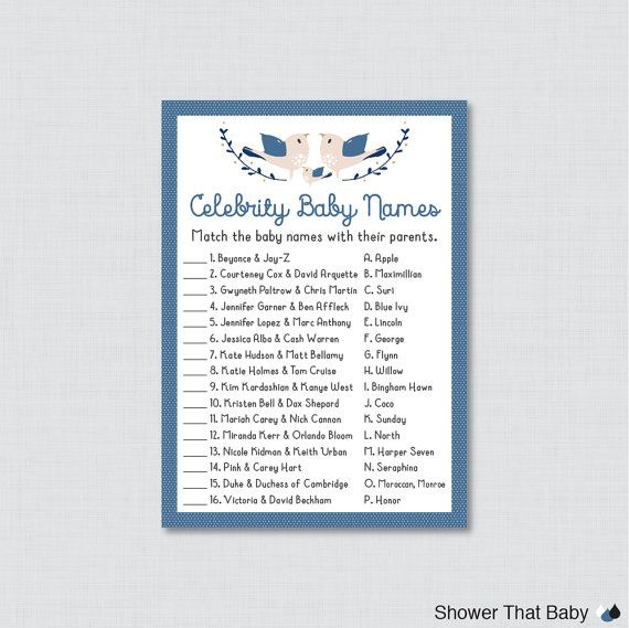 Bird Baby Shower Celebrity Baby Name Game – Celebrity Baby Name Match – Printable Download – Navy Bl