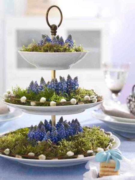 Three-tiered spring floral + moss