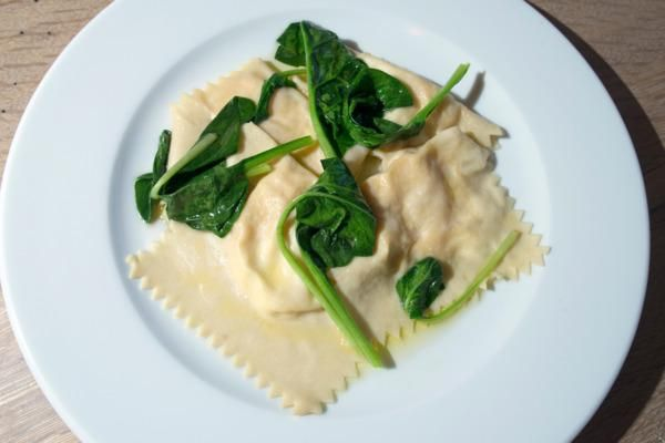 First Look at Café Altro Paradiso, the Estela Team's New York Take on a Classic Italian Restaurant: Ravioli of king crab and mascarpone with spinach.
